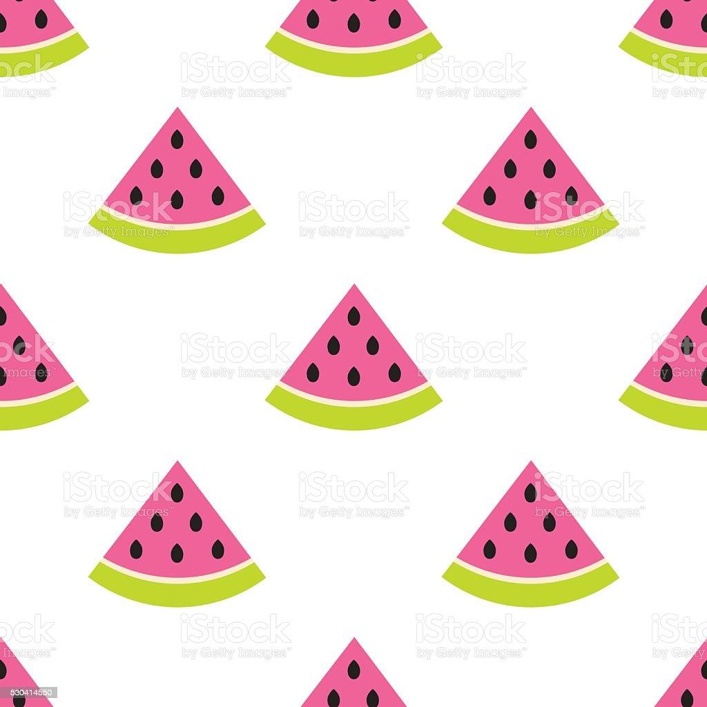 Watermelon slices seamless pink pattern on white vector art illustration