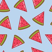 Watermelon slices. Vector seamless pattern.