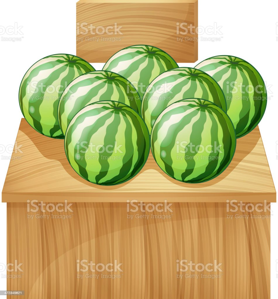 Watermelon stand with an empty wooden signboard royalty-free stock vector art