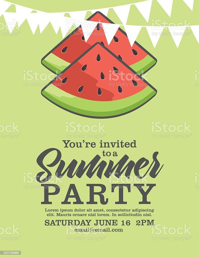 Watermelon Summer Party Invitation. vector art illustration