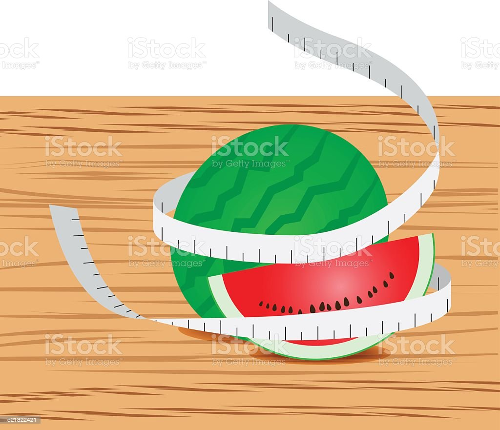 Watermelon with measure tape and table wood vector art illustration