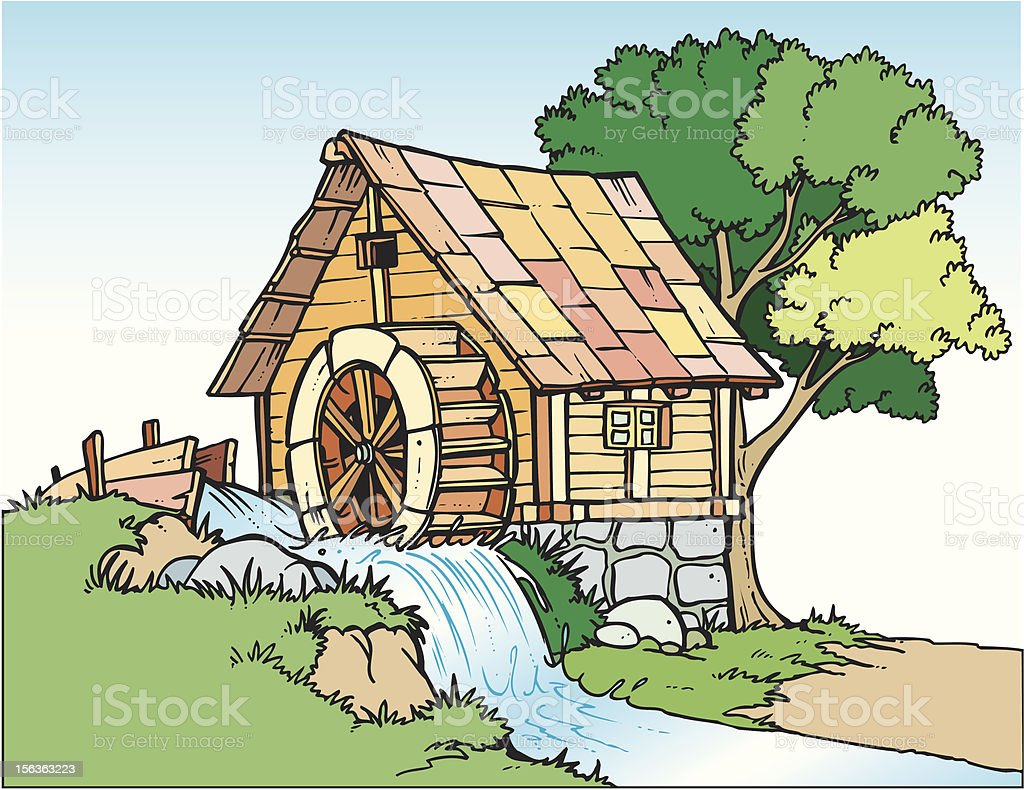 Water-mill royalty-free stock vector art