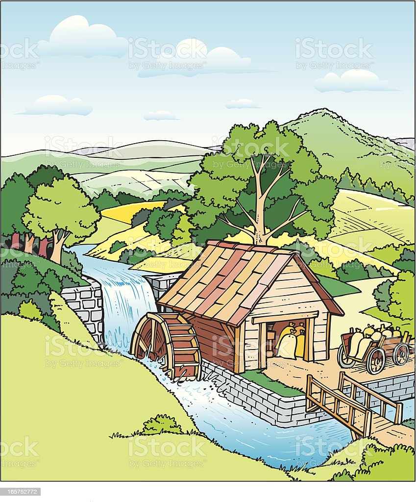 Watermill royalty-free stock vector art
