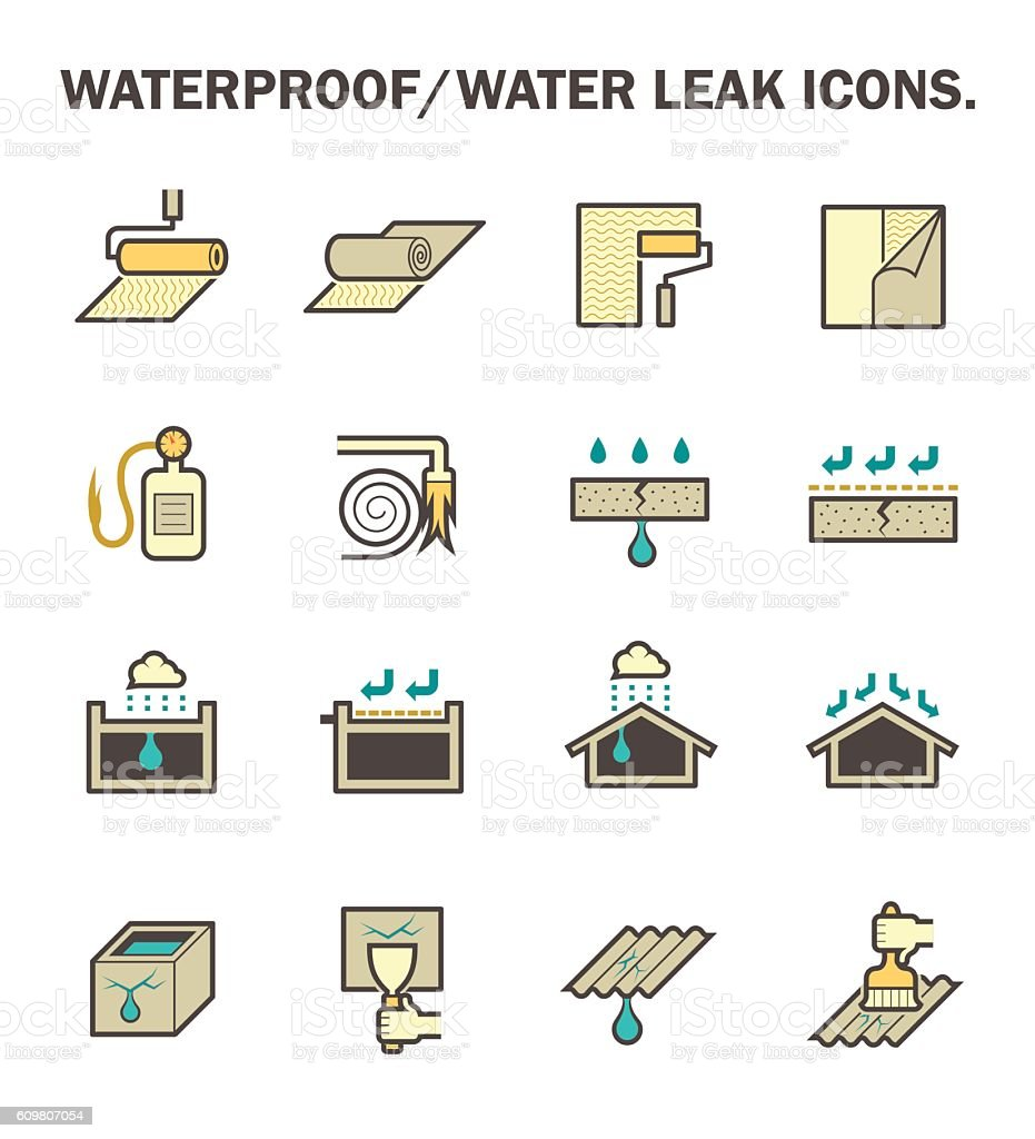 Waterproof water leak vector art illustration