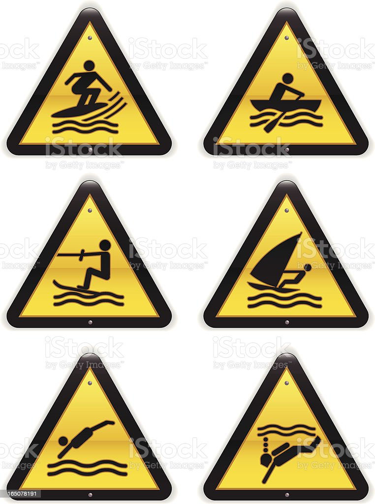 Watersports Warning Signs royalty-free stock vector art