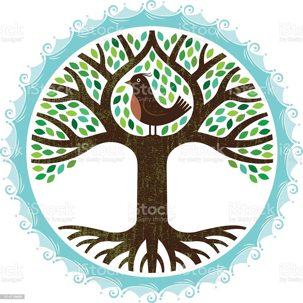 Watery bird tree vector art illustration