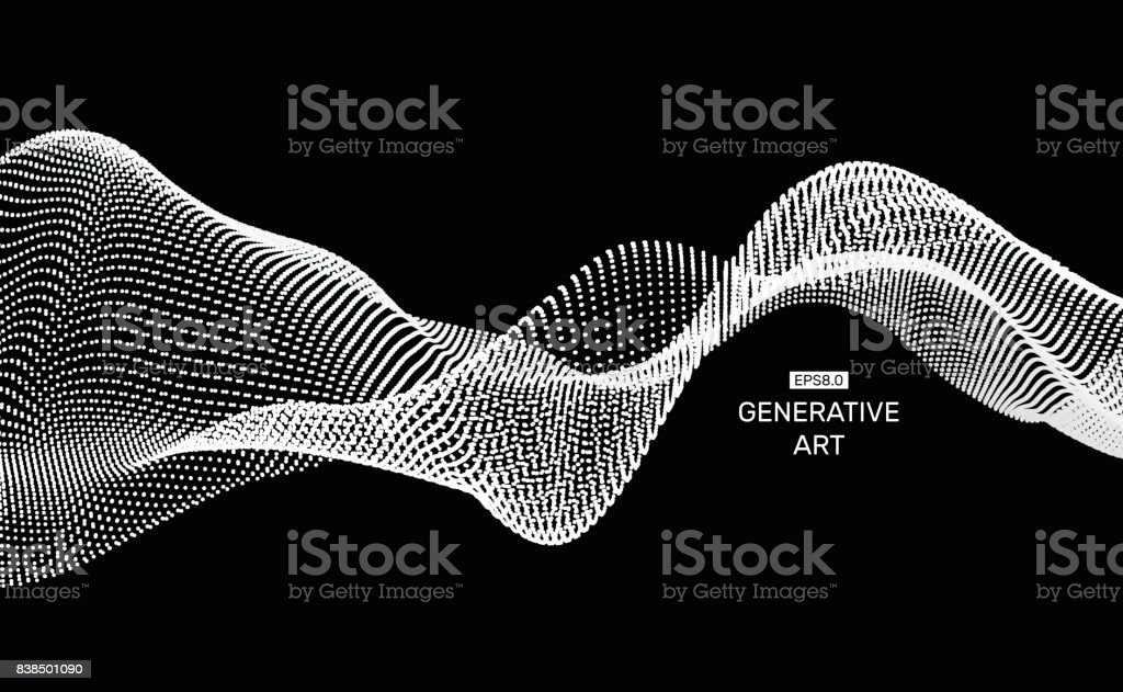 Wave Background. Ripple Grid. Abstract Vector Illustration. 3D Technology Style. Illustration with Dots. Network Design with Particle. vector art illustration