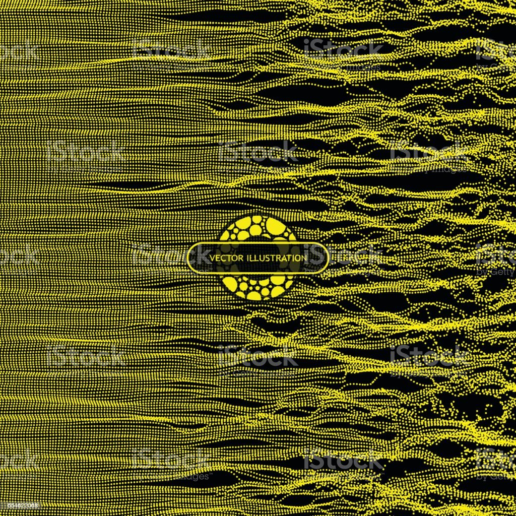 Wave Background. Ripple Grid. Illustration with Dots. Network Design. vector art illustration