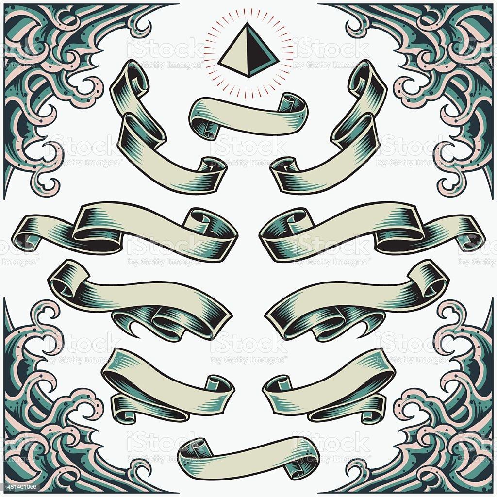 Wave Frame, Ribbons and Pyramid vector art illustration