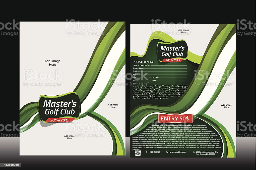 Wave Golf Flyer Template royalty-free stock vector art