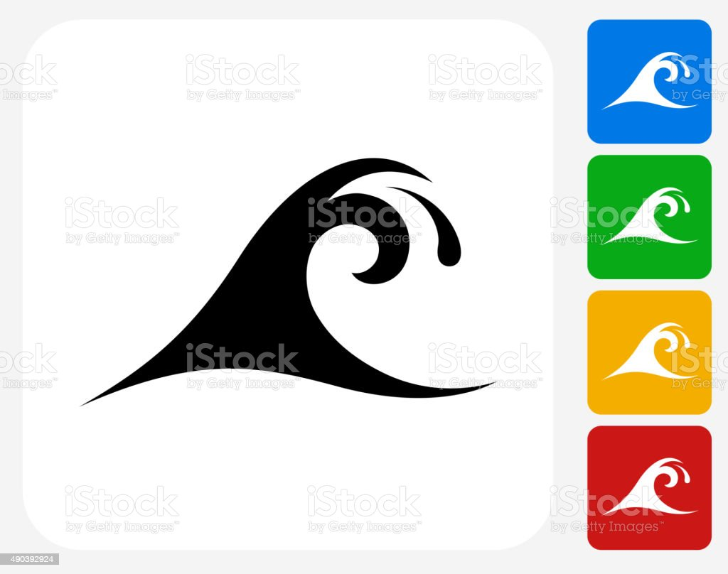 Wave Icon Flat Graphic Design vector art illustration