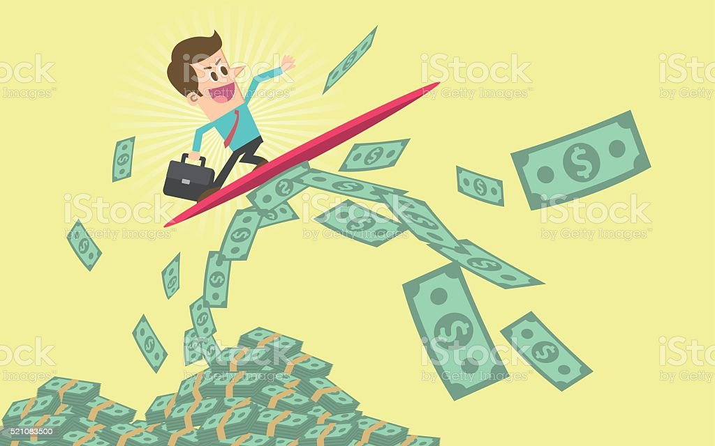 Wave of money vector art illustration