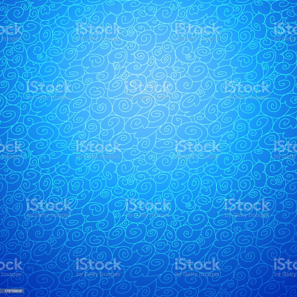 Wave seamless ornamental background in blue color option royalty-free stock vector art