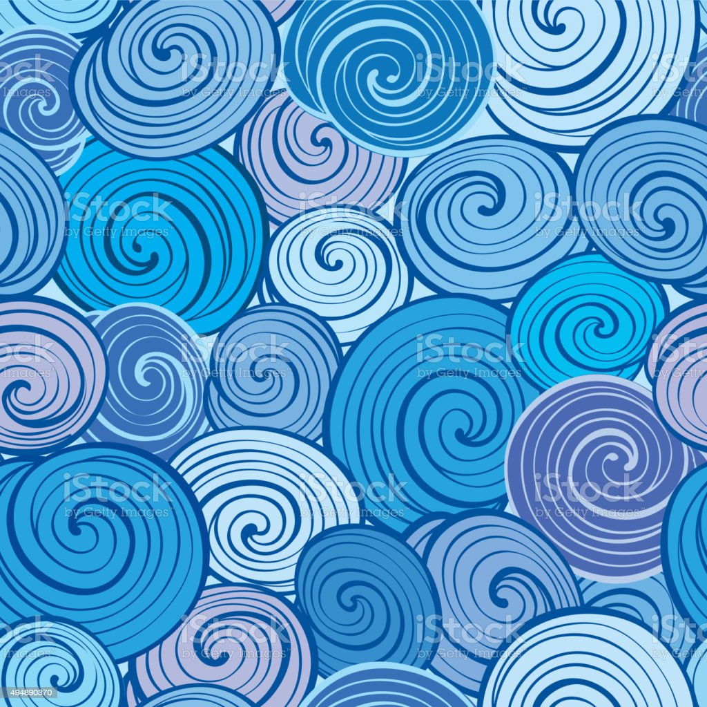 Wave seamless pattern. Abstract geometric tiled background. Water texture. vector art illustration