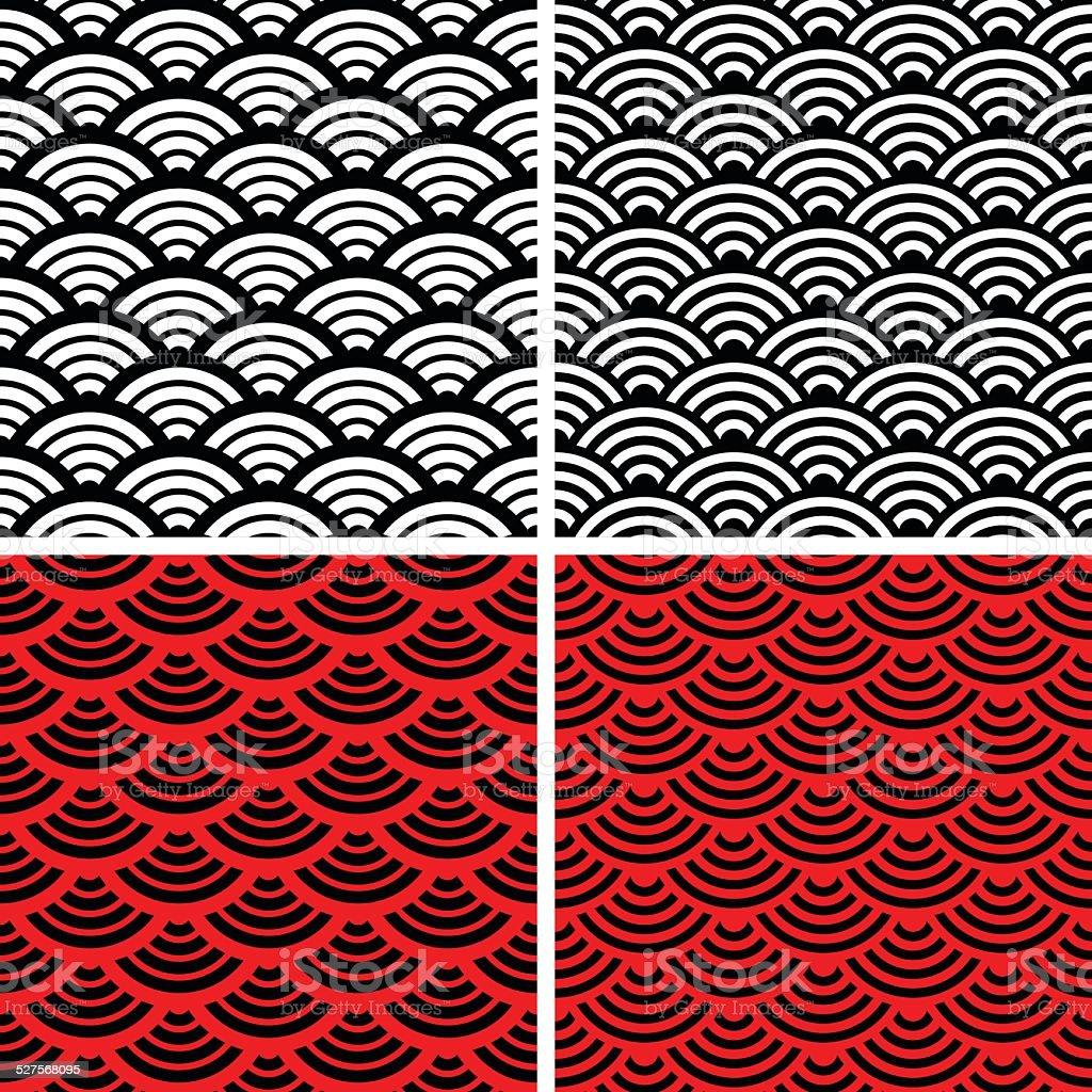 Wave simple seamless patterns. vector art illustration