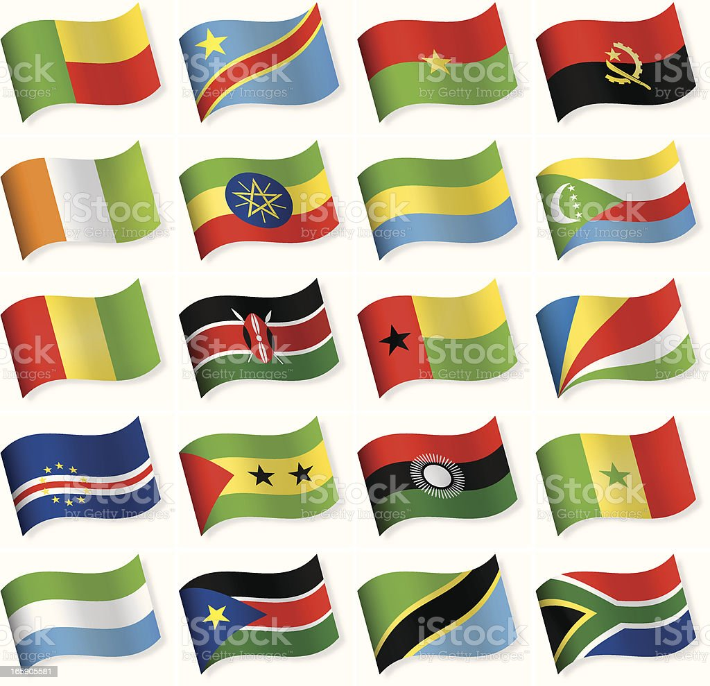 Waveform Flag Icon collection - Africa royalty-free stock vector art