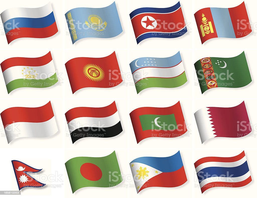 Waveform Flag Icon collection - Asia royalty-free stock vector art