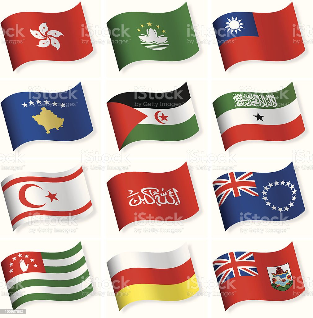 Waveform flag icon collection - other countries royalty-free stock vector art