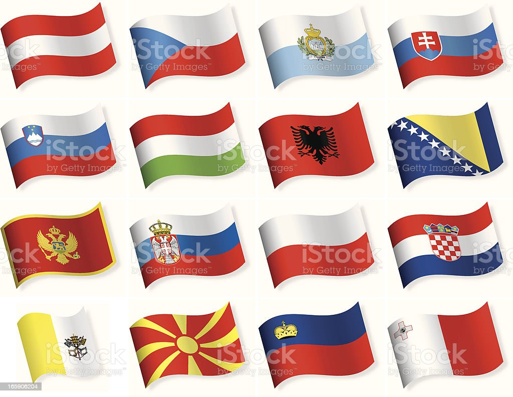 Waveform Flag icons - Central and Southern Europe royalty-free stock vector art