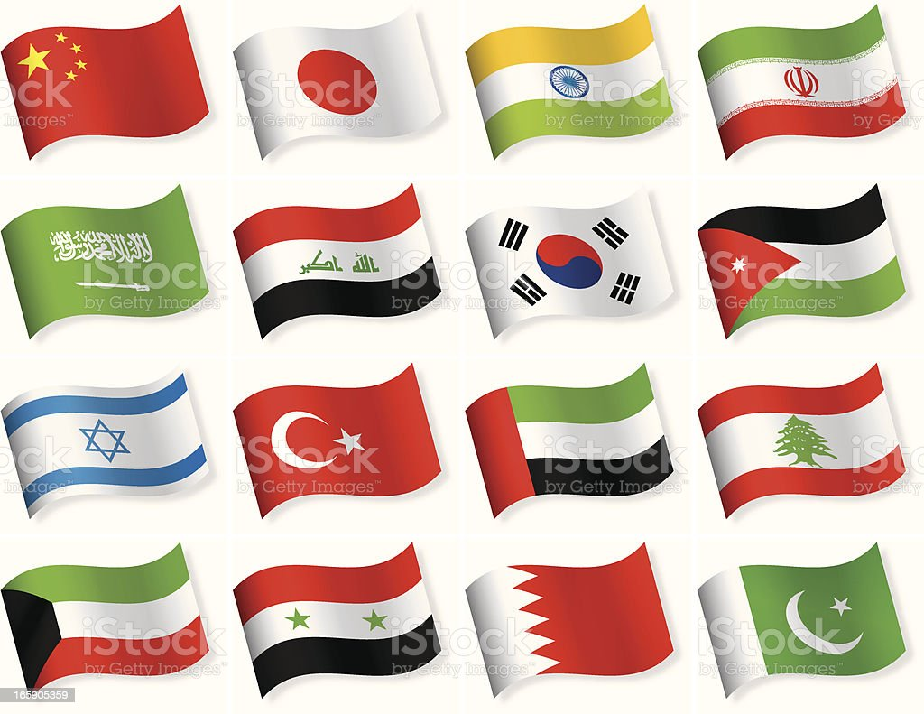 Waveform Flag Icons collection - Asia royalty-free stock vector art