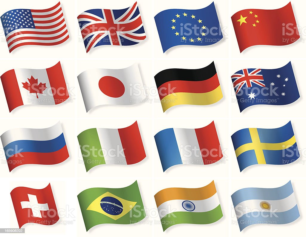 Waveform most popular flag icons royalty-free stock vector art