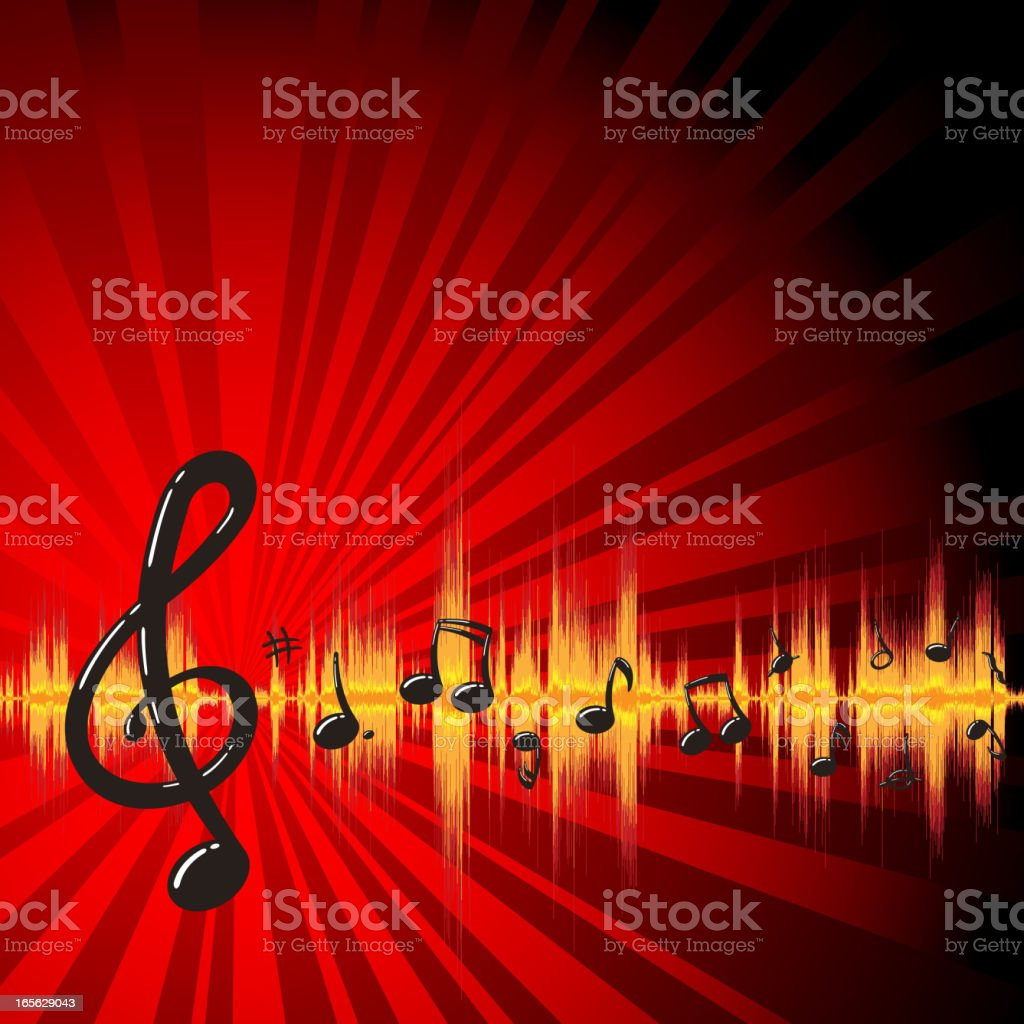 Waveform Musical Note vector art illustration