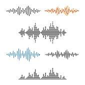 Waveform Shape. Soundwave. Audio Wave Graph Set. Vector