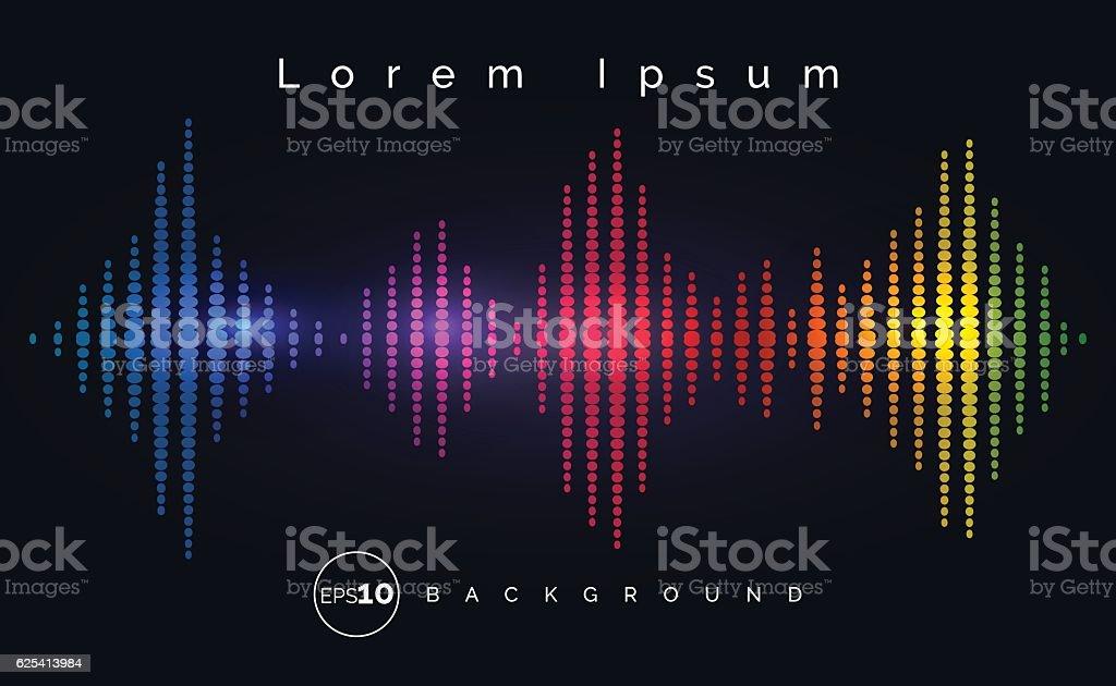 Waveform stereo equalizer poster vector art illustration