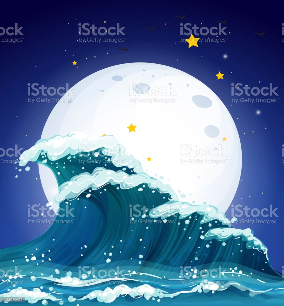 Waves and the moon royalty-free stock vector art