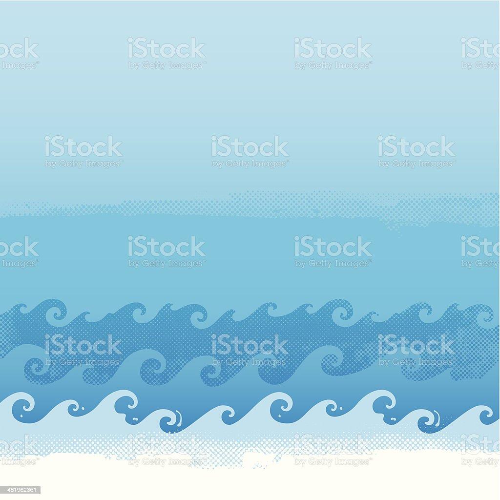 Waves background vector art illustration