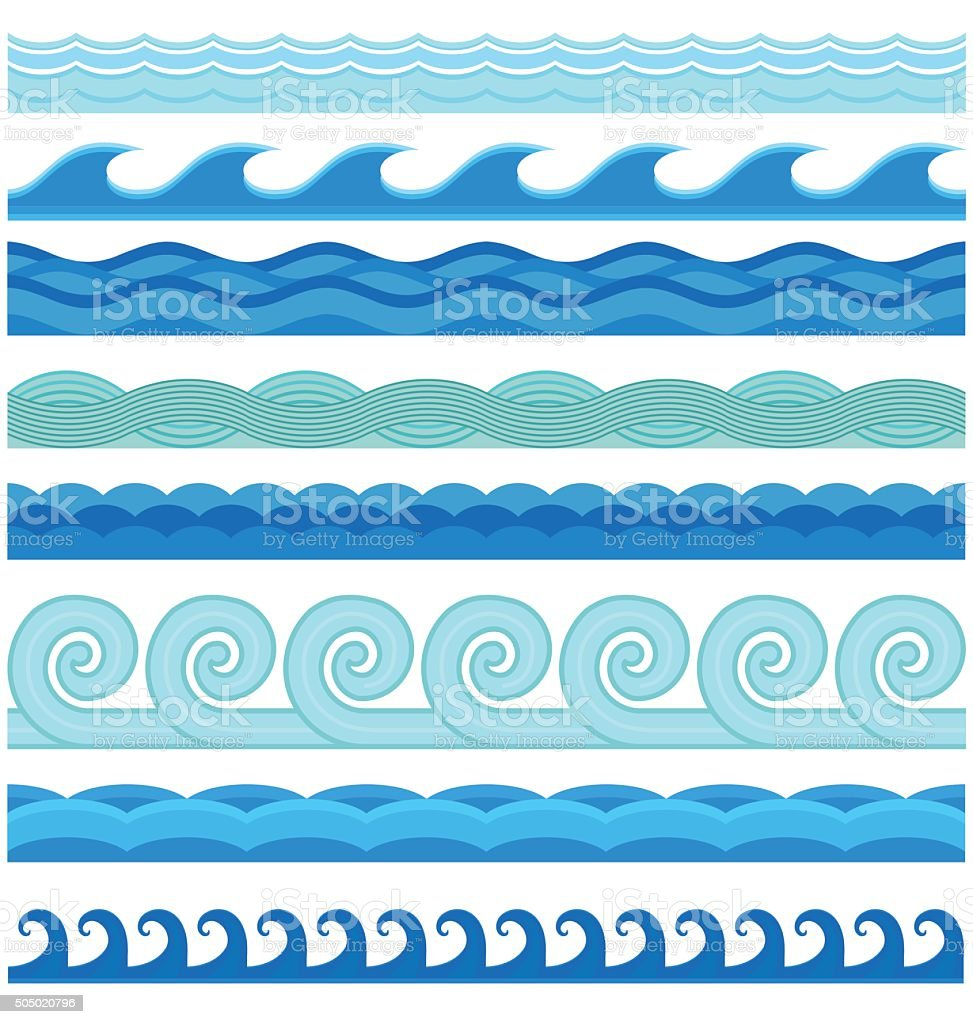 Waves flat style vector seamless icons collection vector art illustration