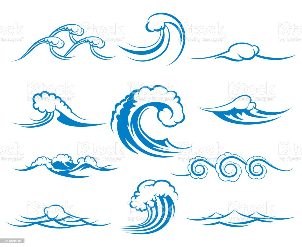 Waves Of Sea Or Ocean Waves Vector Illustration stock ...