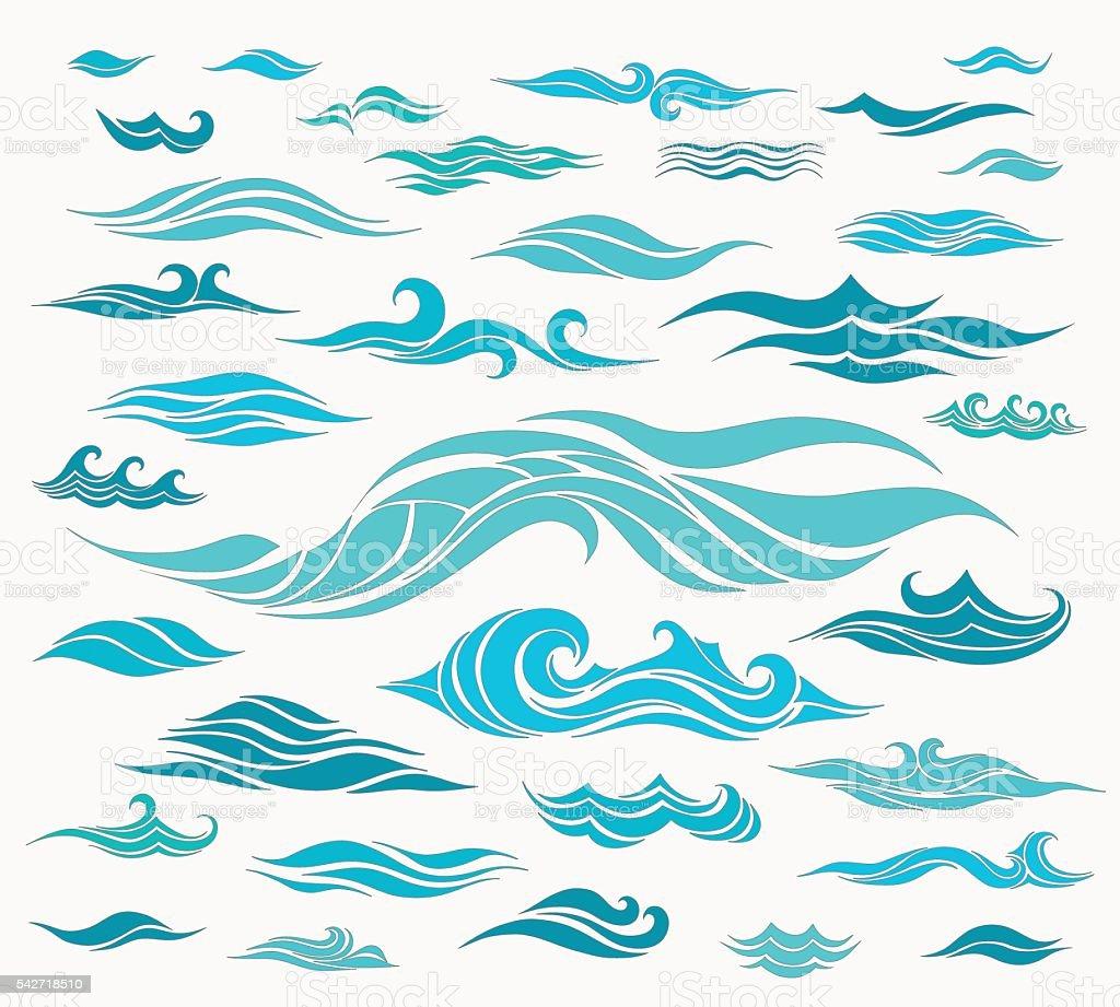 Waves set of elements vector art illustration