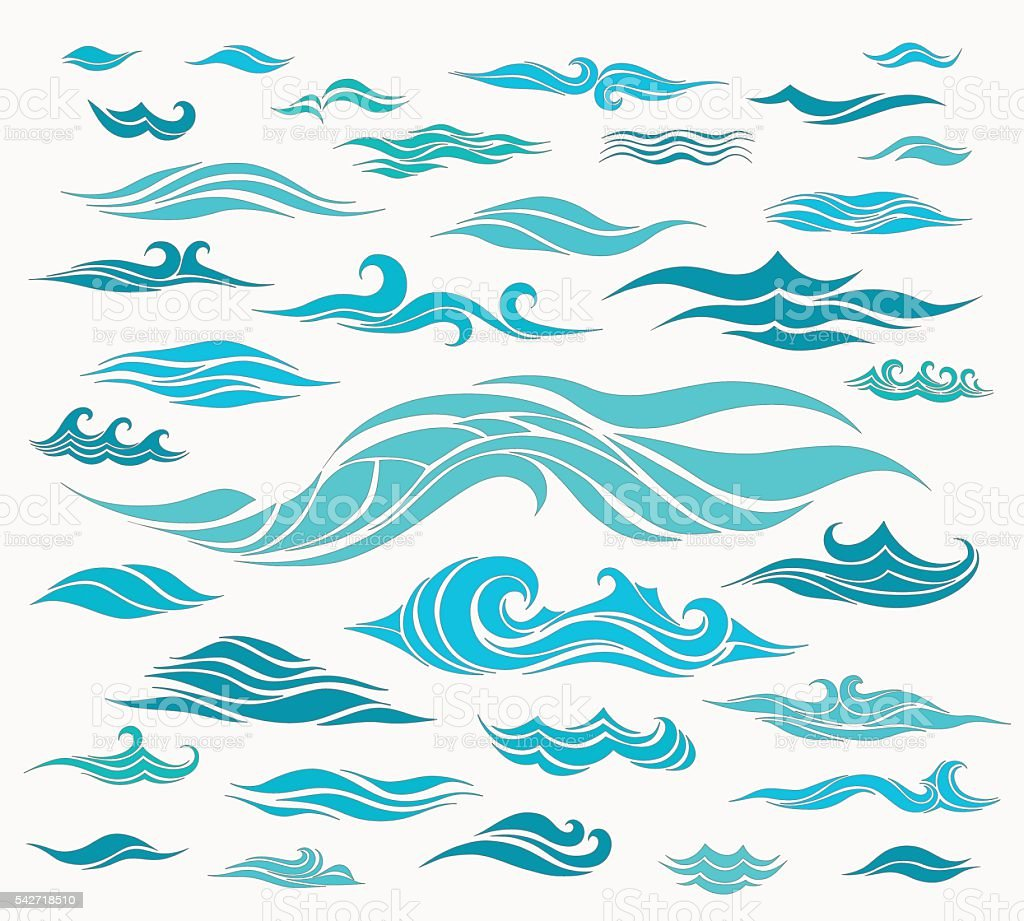 Waves set of elements vector art illustration