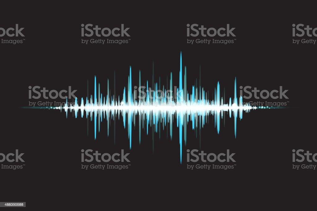 Waves Sound in glow light. Abstract background. Vector illustrat vector art illustration