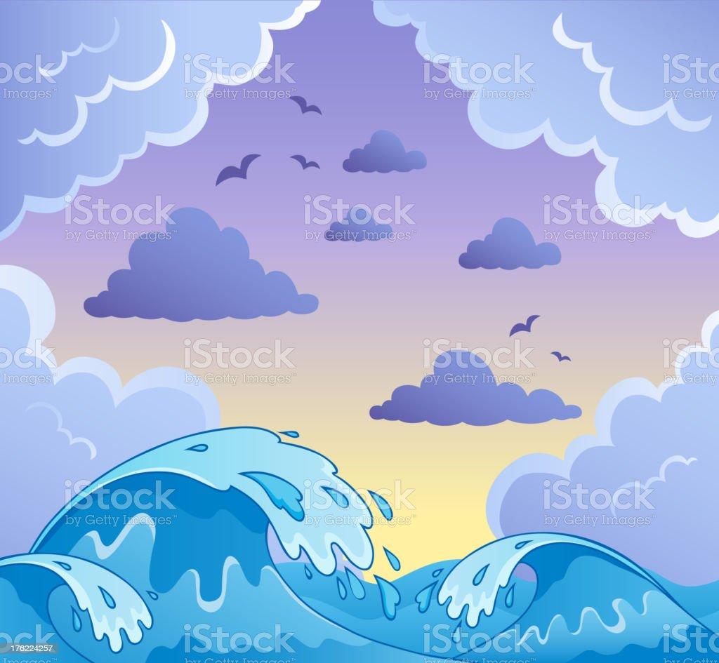 Waves theme image 2 royalty-free stock vector art