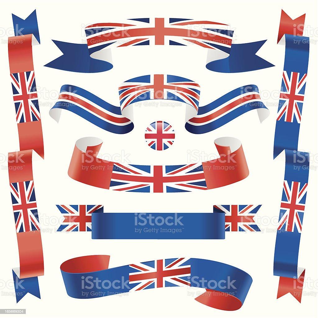 Waving British Banners royalty-free stock vector art