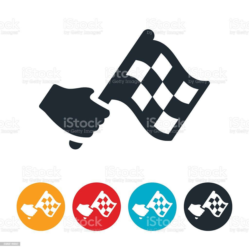 Waving Checkered Flag Icon vector art illustration