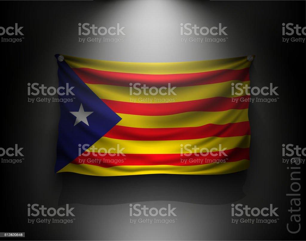 waving flag catalonia on a dark wall vector art illustration