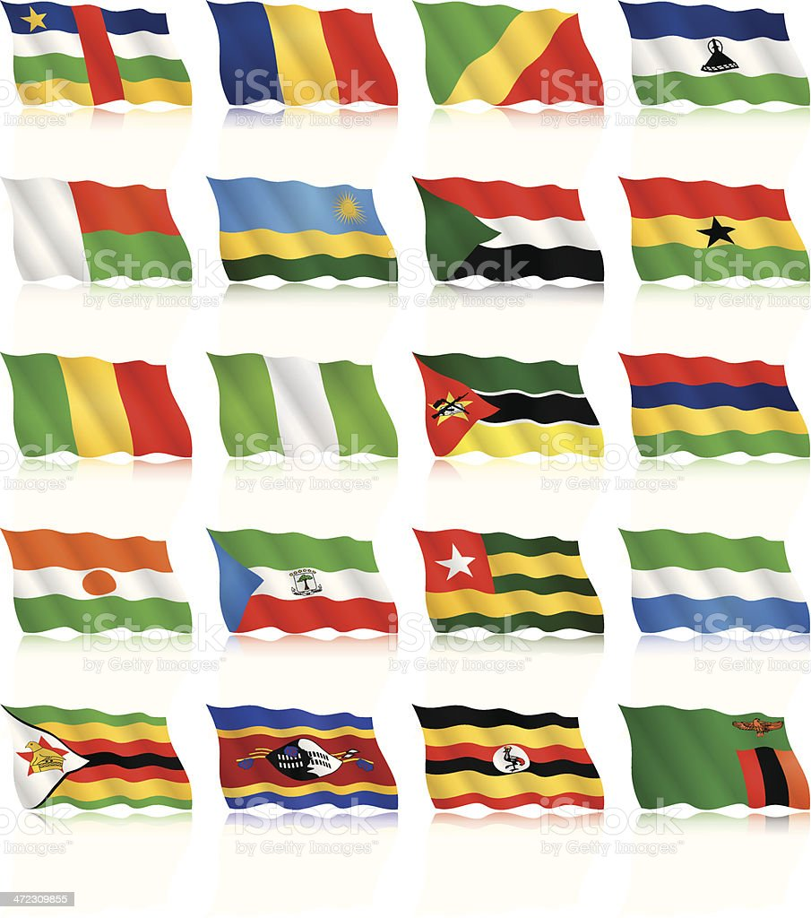 Waving Flag Collection - Africa royalty-free stock vector art