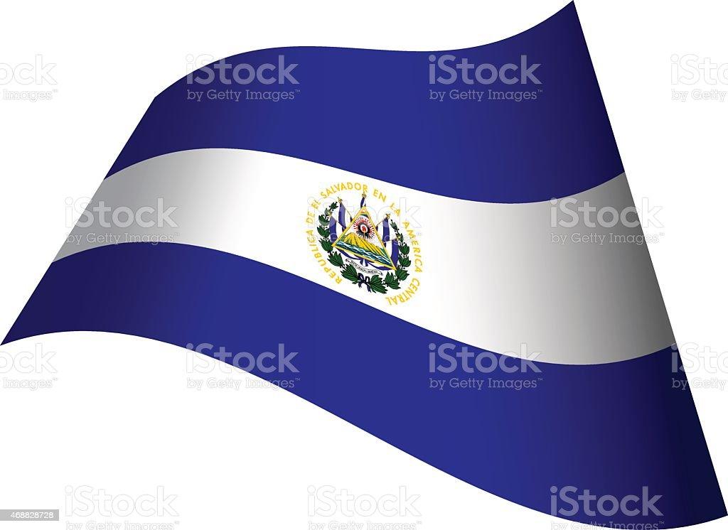 Waving flag of El Salvador vector art illustration