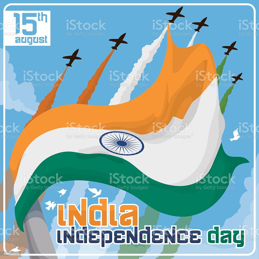 Waving Flag of India in Independence Day Celebration with Airshow vector art illustration