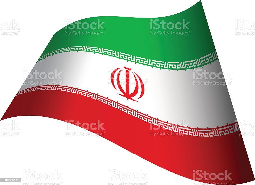 Waving flag of Iran vector art illustration
