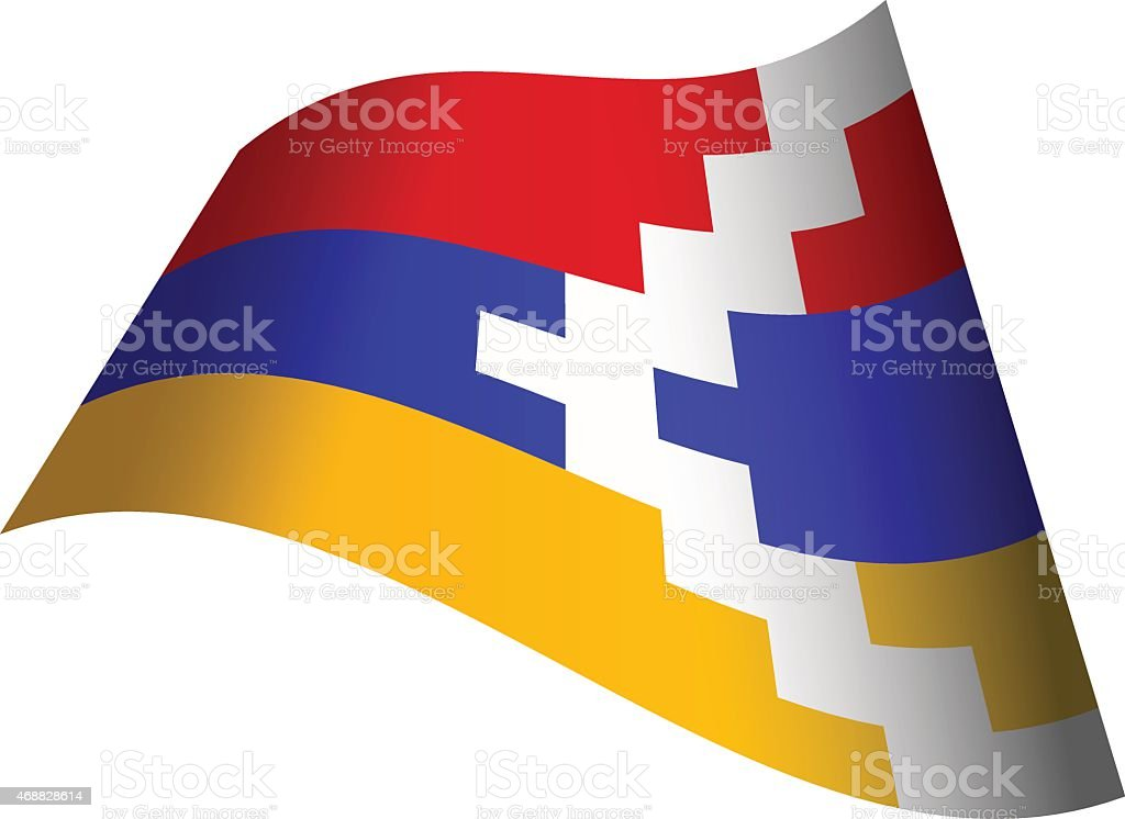 Waving flag of Nagorno-Karabakh Republic vector art illustration
