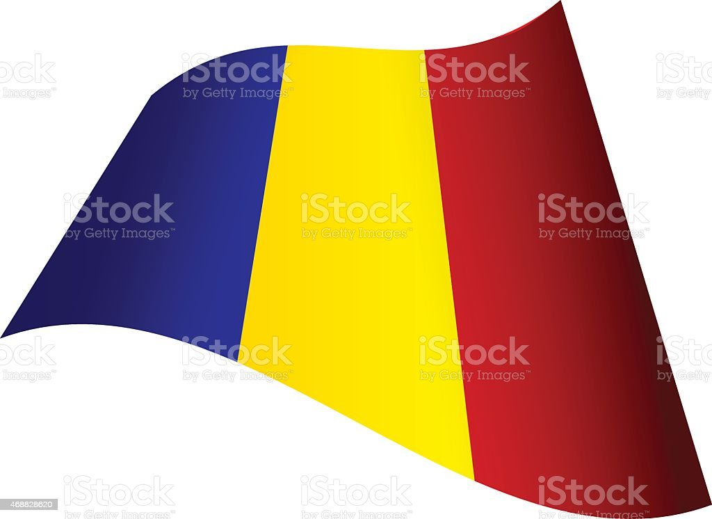 Waving flag of Romania vector art illustration