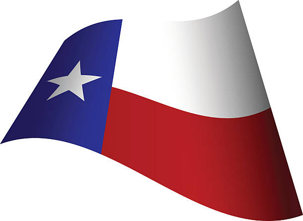 Waving Flag Of Texas Vector Art Illustration