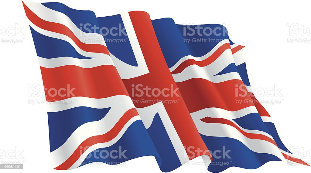 Waving flag of the United Kingdom vector art illustration