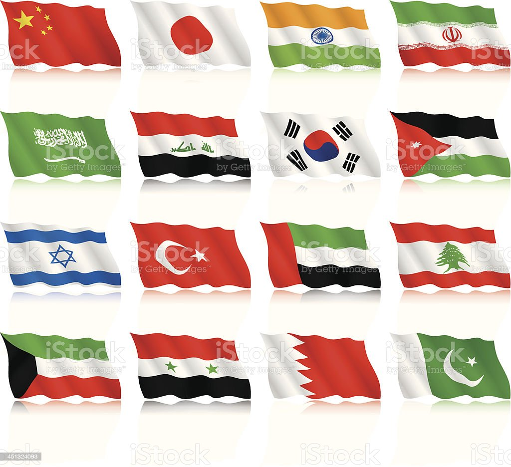 Waving Flags collection - Asia royalty-free stock vector art