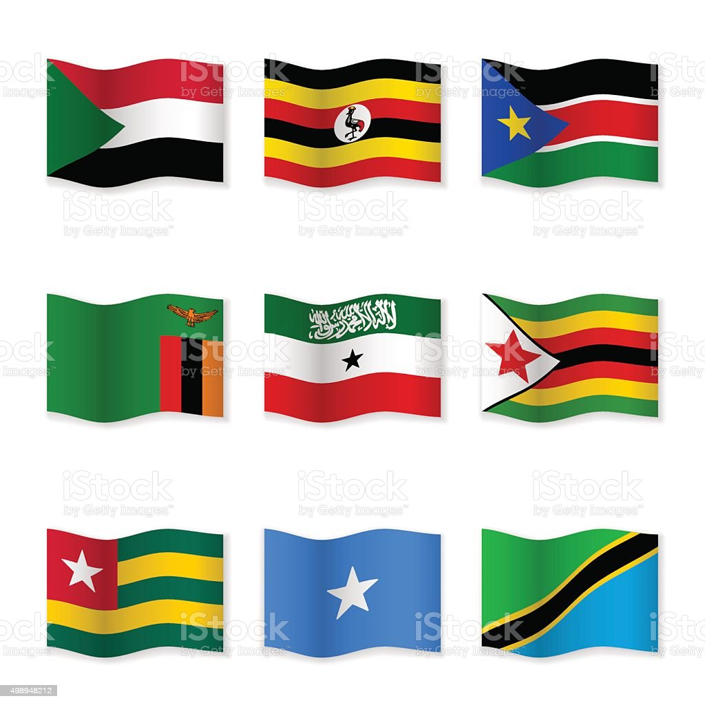 Waving flags of different countries vector art illustration