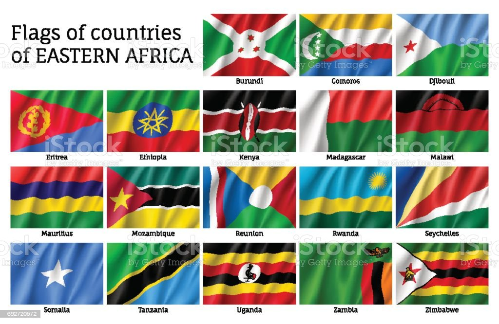 Waving flags of East Africa vector art illustration